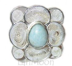 Sterling Silver Filigree Pear Cut Larimar Gemstone Ring Size 9 1/2