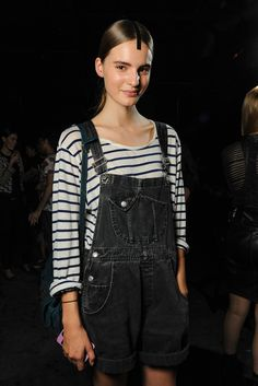 Stripes under overalls.