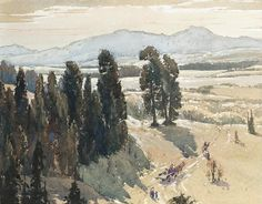 Alfred Crocker Leighton (1901 — 1965, Canada) Indians, Morley, Alberta, Canada. 1920-s  watercolor on colored paper. 31.7 x 40.7 cm. (12 1/2 x 16 in.)