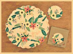 Platos de sitio en papel.- Posavasos en papel.- disposable coasters.