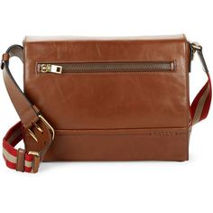 Bally Bally Leather Crossbody Bag (8,825 MXN) ❤ liked on Polyvore featuring men's fashion, men's bags, men's messenger bags, mens messenger bag, mens brown leather messenger bag and mens leather messenger bag