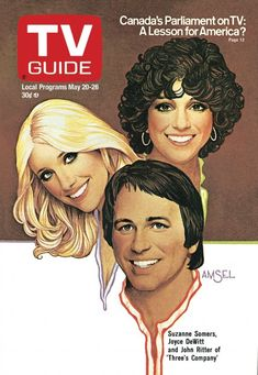 TV Guide May 20, 1978 -  Suzanne Somers, Joyce DeWitt and John Ritter of Three's Company. Illustration by Richard Amsel.