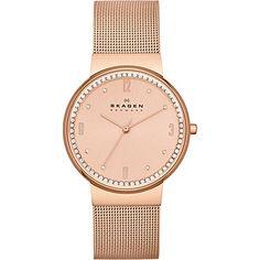Klassik Women's Three-Hand Woven Steel Watch Rose Gold.