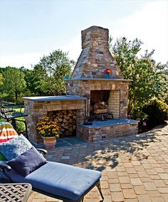 Outdoor fireplace by EP Henry