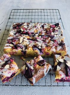 I've used gorgeous dark fleshed plums but any ripe, fragrant plum will work. To get maximum fruit into the cake, I do a double topping, adding the second layer of plums half-way through cooking.