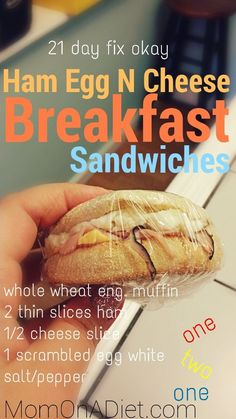 Healthy, clean eating breakfast sandwiches! They are also 21 day fix approved! #21dayfix #healthy Prepare and freeze for quick on the go!