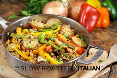 Italian Sausage, Pepper and Potato Skillet in Just 30 Minutes from @SlowRoasted