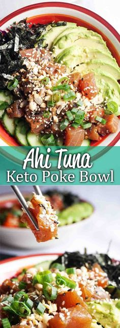 This Ahi Poke Bowl is the perfect light and refreshing meal for any day of the week! #keto #ketorecipes #lowcrab #ketohealth #ketofish Low Carb Lunch, Low Carb Sushi, Low Carb Keto, Poke Sauce Recipes, Poke Recipe, Tuna Recipes, Fish Recipes For Diabetics, Ketogenic Recipes, Salad Recipes