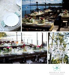 Lake Tahoe Wedding, West Shore Cafe Wedding, Merrily Wed, Farm Tables, Lakefront Wedding, Crystal Chandelier, Wedding Tablescape, Place Setting, Tahoe Lakefront Wedding