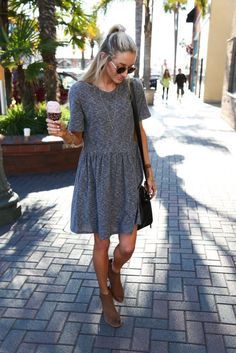 Wear grey skater dress for a standout ensemble. Add brown leather booties to your look for an instant style upgrade.   Shop this look on Lookastic: https://lookastic.com/women/looks/grey-skater-dress-brown-leather-ankle-boots-black-leather-crossbody-bag/16476   — Grey Skater Dress  — Black Leather Crossbody Bag  — Brown Leather Ankle Boots