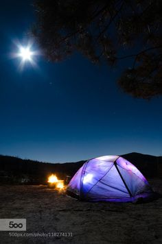 Camping in the Moonlight by ErnestLee1  campfire camping moon night sky outdoors tent ErnestLee1