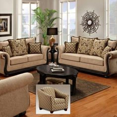Chelsea Home Lily Delray Taupe Sofa Set