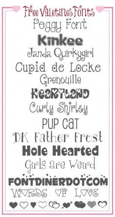 Valentines Fonts - perfect for Valentines Day projects!