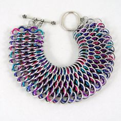 Dragonscale Chainmail Bracelet Cuff Bright by HCJewelrybyRose