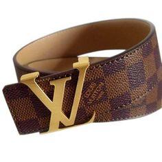Designer Louis Vuitton Damier Leather Men's Belts