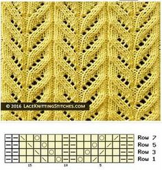 Knitted Lace Pattern. (Chart No 18) Multiple of 16 sts, + 2. All even rows: K2, * p6, k2; rep from * to end.