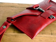 Red Leather Wallet Wristlet with Antique Key  by UrbanHeirlooms, $85.00