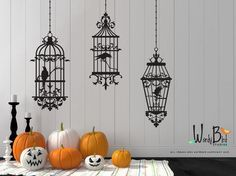 Halloween wall decals with Spooky Gothic Birdcages and ravens/crows. Fun for an elegant Halloween decor or an anytime style for those with a bit