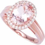 What a Fabulous Ring. A Gorgeous Faceted Oval Cut Morganite Framed By Sparkling Diamonds and Mounted in Rose Gold Creates a Party of Pink and Sparkle.NOTE: The very facets that create the beautiful sparkle in a loose gemstones or gemstones set in jewelry may create optical illusion white or dark/black spots and areas, or uneven coloring when a gemstone is photographed. This effect also applies to photographing highly reflective metals such as gold. Single dimension photographs can not…