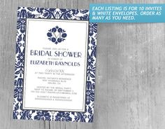 Navy Blue Monogram Damask Bridal Shower Invitations