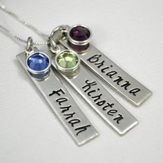 Personalized Mother Grandmother Hand-Stamped Necklace- Three bar Children's Names with Birthstones