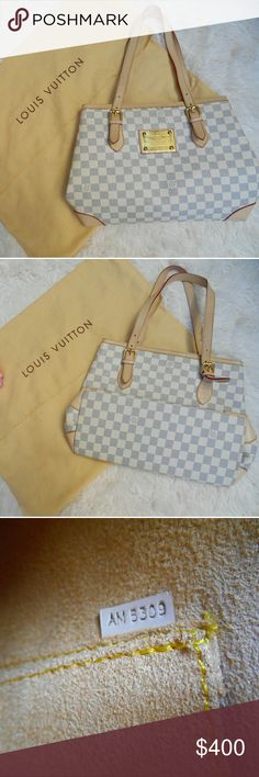 Imposter!! Louis Vuitton Damier Azur Hampstead Bag Offers welcome.This bag is not perfect but still has lots of life left in it. There are some scratches and spots on the faceplate (as shown in listing) and there are some rub signs on the bottom corners of the bag. There are no rips or stains. Louis Vuitton Bags Shoulder Bags