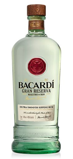 Bacardi Gran Reserva Maestro De Ron A NEW PREMIUM WHITE RUM Bottle, cap, seal and labels have been designed to convey a feeling of smoothness, authenticity and refinement. They have used noble traditional materials such as the red wax seal and the thick wooden cap, on a very smooth oval bottle. The result is an invitation to enter the universe of Bacardi, relax and enjoy this very smooth white sipping rum. 1000 ML • PROOF: 80 • ABV: 40%