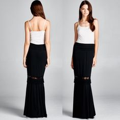 "Embroidered Maxi Skirt - Black How to BUY, comment below with size and color. We'll create a separate listing for you to purchase. Thank you  Product Description: 95% rayon 5% spandex. 45"" long without fold. 54"" with fold. Large waist: 16.5"" unstretched. made in USA  Fit: S (4-6) M (8-10) L (12-14)  Shipping: Ships within 1-2 business days.  Terms: Final sale. Price Firm. 10% off bundles. No trades. No holds. We offer our lowest and best prices upfront. @closetchelle Skirts Maxi"
