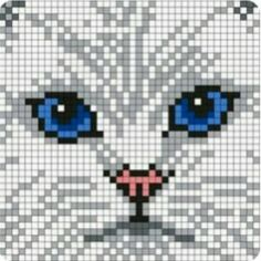 White_Persian_Cat by Maninthebook on Kandi Patterns - Cats Love Cat Cross Stitches, Cross Stitching, Cross Stitch Embroidery, Cross Stitch Patterns, Kandi Patterns, Beading Patterns, Loom Bands, Crochet Pixel, Tapestry Crochet Patterns