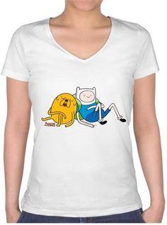 Adventure Time - Finn ve Jake Kendin Tasarla - Bayan V Yaka Tişört