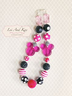 Pink Minnie Mouse Chunky Bubble Gum Necklace by LeiAndKaeCreations, $21.00