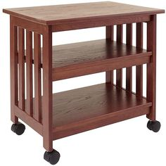 Mission Style Wooden TV / Printer Stand Cart in Chestnut Finish