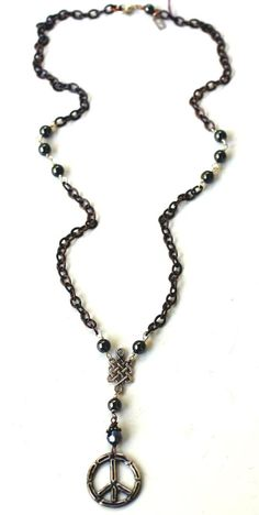 Peace on Earth Man's rosary necklace by liciaatelier on Etsy, $125.00