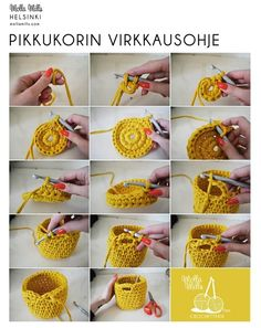 cesto trapillo paso a paso Mini crochet basket- Need to learn how to crochet, how to crochet a basket - could use my T-shirt yarn., how to crochCrochet Fácil - 30 Ideas paso a paso ⋆ Manualidades Y DIYA 'how to' crochet a little basket via Mol Crochet Diy, Crochet Motifs, Crochet Home, Love Crochet, Crochet Crafts, Yarn Crafts, Crochet Stitches, Diy Crafts, Crochet Bags