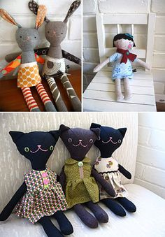 modamuse :: independent modern australian and nz designers, artisans & crafters. These softies are from HopSkipJump Softies, Craft Projects, Sewing Projects, Diy Bebe, Creation Couture, Cool Pins, Sewing Toys, Soft Dolls, Up Girl
