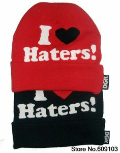 441cdbeabee43 Hip-Hop Unisex I Love Haters Beanies Wen s Women s Winter knit Cotton wool  Hats Snapback