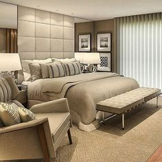 A great bedroom design is the first step to a good night sleep. Dream Bedroom, Home Decor Bedroom, Bedroom Furniture, Bedroom Ideas, Master Room, Duplex, Suites, Luxurious Bedrooms, Beautiful Bedrooms