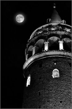 Galata Tower & Moon by Sadettin Uysal / - Best of Wallpapers for Andriod and ios Angel Clouds, Weekend Fun, Galaxy Wallpaper, Great Shots, Beauty Photography, Aesthetic Wallpapers, Most Beautiful Pictures, Monochrome, Cool Photos