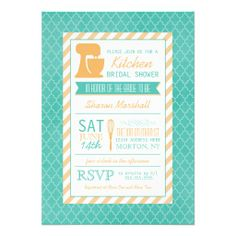 Teal Orange Retro Stock the Kitchen Bridal Shower Custom Announcement