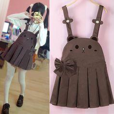 """Color:khaki bear. Straps skirt size:S.M. Size S: Length:72cm/28.08"""".Bust:92cm/35.88"""".Waist:70cm/27.30"""".Hem size:178cm/69.42"""".Shoulder strap length:72cm/28.08""""(Can be adjusted). Size M: Length:74cm/28."""