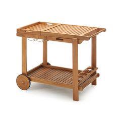Barbecue Trolley mit zwei herausnehmbaren Tabletts Akazienholz 100 % FSC®-zertifiziert natur Trolley, Wooden Toys, Bbq, Stool, Furniture, Home Decor, Terrace, Trays, Home Decor Accessories