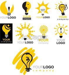 Lamp theme vector logo templates stroke