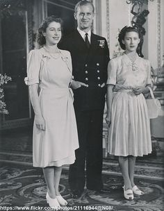 Engagement of Princess Elizabeth, Philip Mountbatten & Princess Margaret Rose. Princess Elizabeth, Princess Margaret, Princess Mary, Queen Elizabeth Ii, Elizabeth Philip, English Royal Family, British Royal Families, Elizabeth England, Margaret Rose