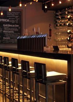 """Bar Lighting.L102 ll Vinoteca Caffe & Trattoria (closed - restaurant is replaced by """"Miss Me Yet?"""") in Vancouver, BC #linear #cabinet #lighting #striplight #surfacemount #LED #bar #restaurant #vancouver #modern #interior #interiordesign #lightingdesign #architecture"""