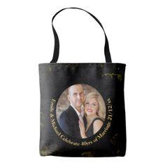 #40th PHOTO Wedding Anniversary Black Gold Marble Tote Bag - cyo customize design idea do it yourself