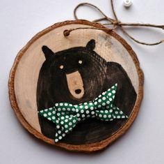Mr Bear wall art ornament black bear with green by DeborahMcGeeArt, $12.00