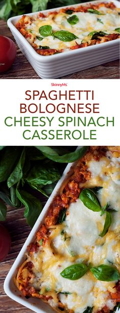 This colorful, easy-to-slice Spaghetti Bolognese Cheesy Spinach Casserole will wow your guests and have them coming back for seconds.