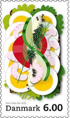 Stamp with a classic Danish open-faced sandwich (smørrebrød): Egg, shrimps, mayonnaise and caviar