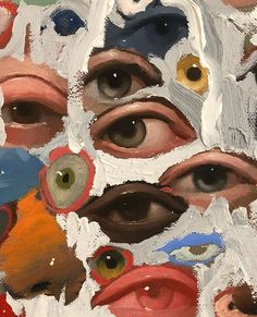 Abstract Eyes By Emilio Villalba - Painting Art Inspo, Art Du Collage, Painting Collage, Collage Ideas, Art Paintings, Wall Collage, Posca Art, Eye Painting, Figure Painting