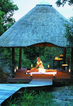 A hot stone back and neck massage in the African bush--especially dreamy after getting up at for sunrise game drive. The Spa at Royal Malewane in Kruger National Park, South Africa. Jacob Zuma, Kruger National Park Safari, Wellness Resort, Game Lodge, Exotic Places, Game Reserve, African Safari, Luxury Travel, Hotels And Resorts